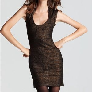 French connection black and gold bandage dress.
